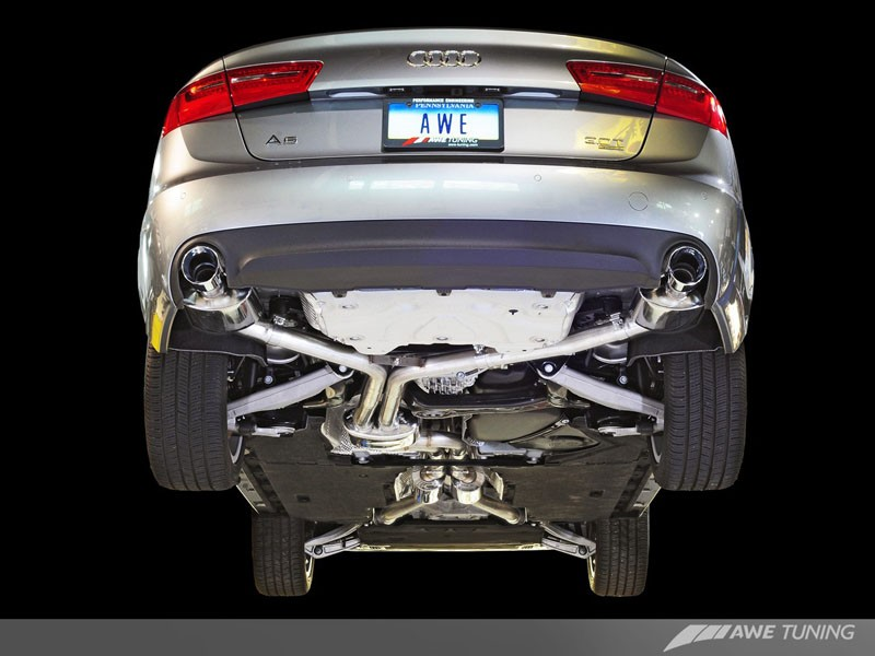AWE Tuning Audi C7 A6 3 0T Touring Edition Exhaust - Dual Outlet, Chrome  Silver Tips