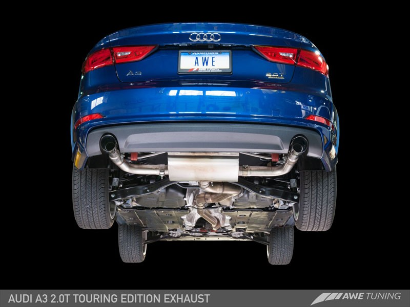 AWE Tuning Audi A3 Touring Edition Exhaust - Dual Outlet, Chrome Silver 90  mm Tips