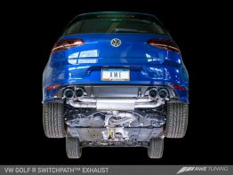 AWE SwitchPath™ Exhaust for MK7 Golf R - Diamond Black Tips, 90mm