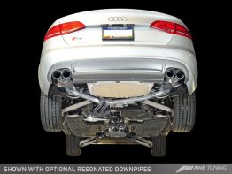 Package: AWE Tuning S4 3.0T Touring Edition Exhaust and Resonated Downpipe System - Chrome Silver Quad Tips (90mm)