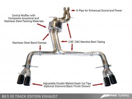 Package: AWE Tuning Audi S5 3.0T Track Edition Exhaust and Resonated Downpipe System -- Chrome Silver Quad Tips (90mm)