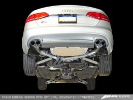 Package: AWE Tuning Audi S4 3.0T Track Edition Exhaust and Non-Resonated Downpipe System -- Chrome Silver Quad Tips (90mm)