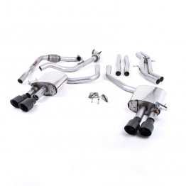 Milltek Sport Audi B9 S4/S5 Turbo V6 Cat-Back Non-Resonated Quad GT-100 Cerakote Black Tips (Non-Sport Diff)