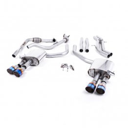 Milltek Sport Audi B9 S4/S5 Turbo V6 Cat-Back Non-Resonated Quad GT-100 Burnt Titanium Tips (Non-Sport Diff)