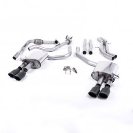 Milltek Sport Audi B9 S4/S5 Turbo V6 Cat-Back Non-Resonated Quad Cerakote Black Oval Tips (Non-Sport Diff)
