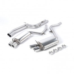 Milltek Sport Audi B8 S5 4.2L Cat-Back Exhaust System - Non-Resonated - Quad GT80 Polished Tips