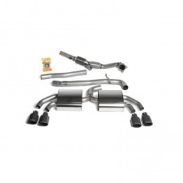 Milltek Sport Audi TTS MKII Quattro Cat-Back Exhaust System Full System - Non-resonated (Including Hi-Flow Sports Cat) - Quad Cerakote Black Oval Tips