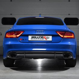 Milltek Sport Audi C7 RS7 4.0T Turbo-Back Exhaust System (catless) - Resonated - Utilizes OEM Tips