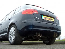 Milltek Sport Audi A3 8P 2.0 TFSI Quattro Sportback Turbo Back Exhaust System (Sports Cat/Resonated) - Twin 76mm Polished Jet Tips