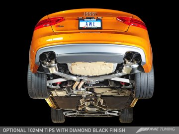 Package: AWE Tuning Audi S5 3.0T Touring Edition Exhaust and Resonated Downpipe System -- Diamond Black Quad Tips (102mm)