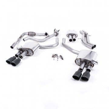 Milltek Sport Audi B9 S5 Turbo V6 Cat-Back Resonated Black Oval Tips (Sport Diff Only)