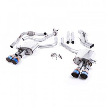 Milltek Sport Audi B9 S4/S5 Turbo V6 Cat-Back Non-Resonated Quad GT-100 Burnt Titanium Tips (Non-Sport Diff)