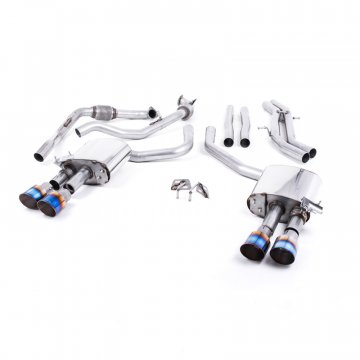 Milltek Sport Audi B9 S5 Turbo V6 Cat-Back Non-Resonated Quad GT-100 Burnt Titanium Tips (Non-Sport Diff)