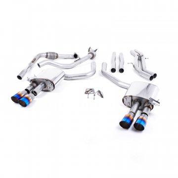 Milltek Sport Audi B9 S4/S5 Turbo V6 Cat-Back Non-Resonated Quad GT-90 Burnt Titanium Tips (Non-Sport Diff)