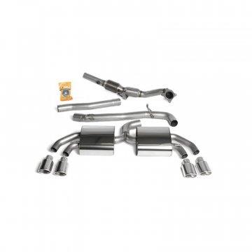Milltek Sport Audi TTS MKII Quattro Cat-Back Exhaust System Full System (Including Hi-Flow Sports Cat) - Quad Polished Oval Tips