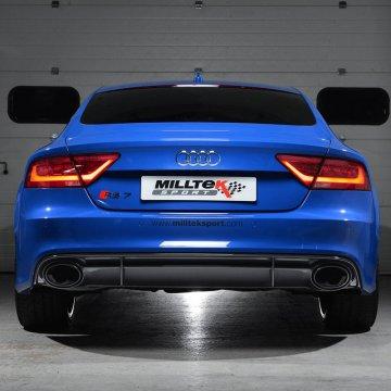Milltek Sport Audi C7 RS7 4.0T Turbo-Back Exhaust System (catless) - Resonated - Utilizes OEM Tips