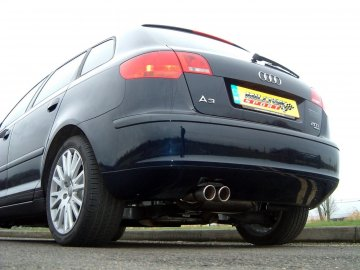 Milltek Sport Audi A3 8P 2.0 TFSI Quattro Sportback Turbo Back Exhaust System (Sports Cat/ Non- Resonated) - Twin Polished 76mm Jet Tips